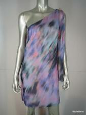 NWT $395 MILLY 4 Silk Goddess Watercolor Pastel Sash Jeweled One Shoulder Dress