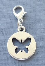 BUTTERFLY Clip On Charm with Lobster Clasp for Link Chain floating locket C169