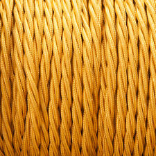 Celtic Gold Twisted Braided Fabric Cable 3-Core 0.5mm for lighting
