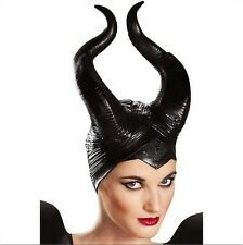 Women Maleficent Costume Disney Witch Black Horn Cosplay Mask Halloween Hat Fun