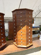 c1903 AMERICAN antique bolt & SCREW octagonal hardware store cabinet 80 drawer