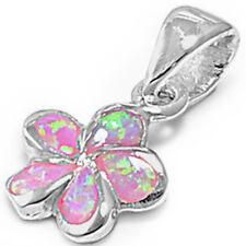 CUTE Pink Australian FIRE Opal Plumeria .925 Sterling Silver Pendant