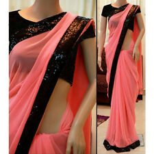 Indian Party Wear Designer Light Pink Georgette Sequins Embroidered Saree With