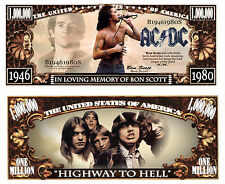 AC/DC Bon Scott Million Dollar Bill Collectible Funny Money Novelty Note