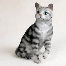SHORTHAIRED SILVER TABBY CAT Figurine Statue Hand Painted Resin Gift