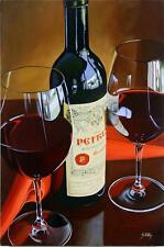 "Thomas Stiltz ""Petrus"" Wine Bottle & Glasses 18x12 Giclee Canvas hand s/# COA"