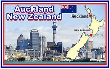 AUCKLAND, NEW ZEALAND, MAP & FLAG - SOUVENIR FRIDGE MAGNET - NEW - GIFT