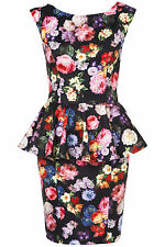 New TOPSHOP TALL rainbow floral peplum dress UK 10 in Black/Multi