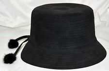 Scala Black Faux Suede Womens Bucket Hat with 2 Fox Fur Ball Tassels One Size