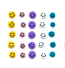 25 FIMO NAIL ART DECORATIONS SLICES FOR NAILS CAKE COLOUR SMILE SMILEY FACE