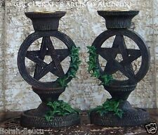 PENTACLE Pentagram Ivy Taper Candle Holder Altar Set - Witchcraft Wicca Pagan