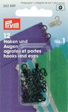 Prym Federhaken Haken und Augen Nr. 1 schwarz 12 St zum Annähen 263849