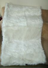 NICOLE MILLER White Faux Fur Throw Blanket Ivory 50 x 60
