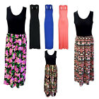 Plus Ladies Women Racer Back Long Maxi Dress Floral Printed Sleeveless Size 8-26