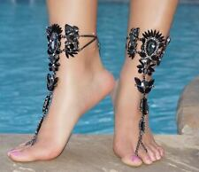 Barefoot Sandals Black Jeweled Foot Jewelry Vacation Bohemian Foot Bling Bride