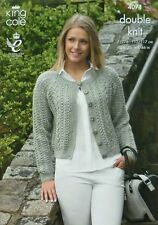 KNITTING PATTERN Ladies Long Sleeve Round Neck Cable Cardigan DK King Cole 4071