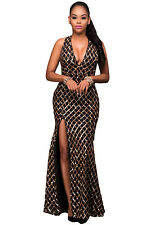 New Black & Gold Sequins Key Hole Back Cocktail Prom Evening Dress Size UK 8-10