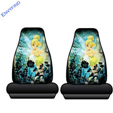 New 2 Front Seat Covers Disney Tinker Bell Moody Yellow Fairy Neverland Pair