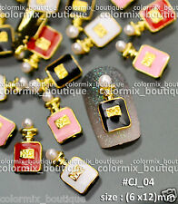 Nail Tips Accessories Black White Red Pink Perfume Bottle Alloy Decoration#CJ_04