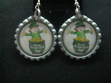 """1"""" Bottle Cap Image Earrings ~ St Patrick Day ~ Handcrafted ~ **Gift Idea"""