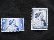 Gb: 1948 royal argent mariage umm (neuf sans charnière) lot de 2 timbres