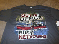 Trout Fishing Mens Out of the Office Busy Networking Boat Gray Size Large L