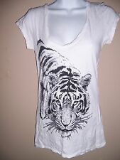 Womens Stranded Size M - Short Sleeve White Tiger Top T-Shirt - 100% Cotton