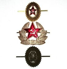 Set of 3 CAP BADGE Russia Soviet Union Army Communist Red Star CAP Hat Pin USSR