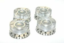 4 PCS Gibson Speed Control Knob Replacement Silver w/ Black Numbers. USA SELLER!