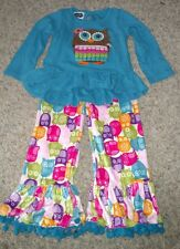 Mud Pie Toddler Girl Owl Pant Outfit 4T