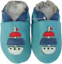 shoeszoo soft sole leather baby shoes sailboat turquoise 6-12m S