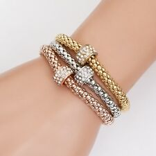 3PCS Women Girl Jewelry Crystal Rhinestone Cuff Bangle Charm Elastic Bracelet