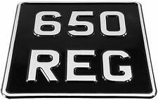 6.5x6.5 SMALL Black & Silver Motorcycle Bike PRESSED Number Plate SCOOTER VESPA
