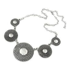 Large Silver Tone Metal Chainmail Disc Bib Statement Necklace (Adjustable)