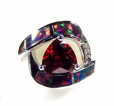 Sterling 925 Silver SF Size 9 Ring Dark Red Lab Fire Opal & 7mm Garnet & WT