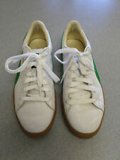 "PUMA ""Basket"" white leather, green suede athletic shoes. Men's 12 (eur 46)"