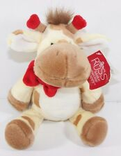 "Russ Berrie Giraffe GERAMY 10"" Plush Stuffed Animal Floppy Lovey Red Bow Hearts"