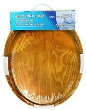 Round Toilet Seat Natural Oak Wood Finish and Satin Nickel Hinges