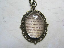 Bronze Alice in Wonderland Text Excerpt From Book Glass Necklace New in Gift Bag