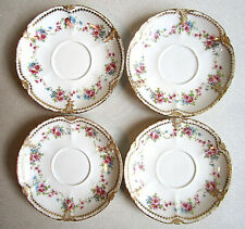 """2 Antq Theodore Haviland Limoges 4 5/8"""" Tea Cup Saucers DBL Gold"""