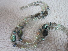 Abalone Splendor - Crystal/Glass Beaded Lanyard & ID Badge Holder