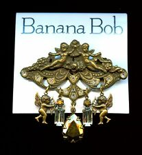 BANANA BOB BRASS OX Vintage ANGEL CHERUB CHARMS SWAROVSKI CRYSTALS PIN BROOCH