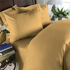 1000 THREAD COUNT 100% EGYPTIAN COTTON QUEEN GOLD SOLID 4 PIECE BED SHEET SET
