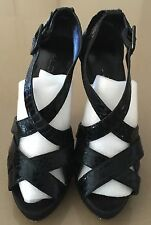 Pre-owned ALDO Black Strappy Open Toe Platform Stiletto Heels Size 39
