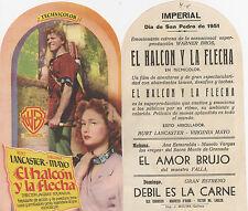Programa PUBLICITARIO de CINE: EL HALCÓN Y LA FLECHA.