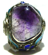 CHINA CHINESE EXPORT MASSIVE AMETHYST STERLING SILVER ENAMEL FILIGREE RING