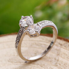 2 x 1ct Created Brilliant Diamonds 18K White GP Ring *0080* size 6/L