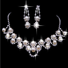 Bridal Wedding Rhinestone Crystal Pearl Necklace Earrings Bracelet Jewelry Set