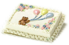 Dollhouse Miniature Cake Teddy Bear Baby Shower Falcon Minis 1:12 Scale