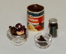 Dollhouse Miniatures Blueberry Fudge Sundae, and fixins 4 piece set
